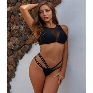 Custom Made Two Pieces Bikini Voile Top Strap Bottom Sport Black Bikini