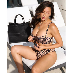 Wholesale Leopard Print Two Pieces Bikini Triangle Bikini 2020 Swimsuit