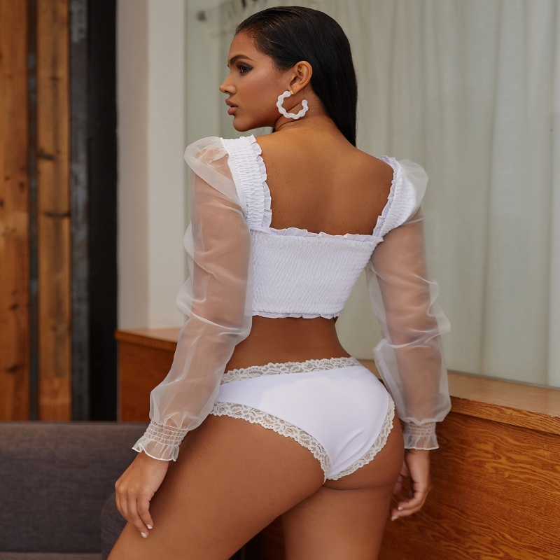 Wholesale One Piece Swimsuit White Lace Voile Bikini With Sleeves
