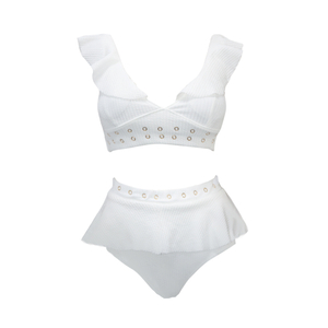 Custom White High Waisted Two Piece Swimsuit Ribbed V-neck Bikini
