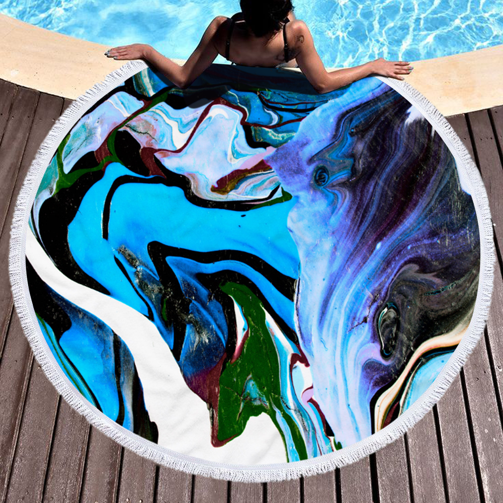 Factory Marble Quick Dry Round Microfiber Beach Towel 2020