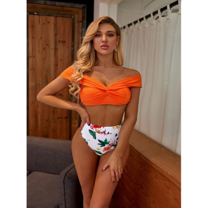 Custom Made Floral Print Two Pieces Bikini High Waist Top Sport Sexy Swimsuit
