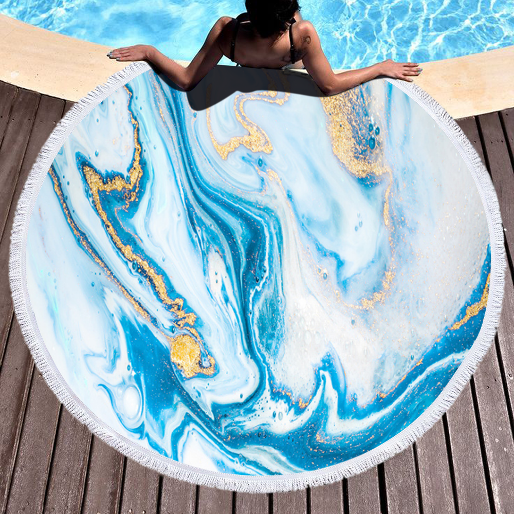 New designs Marble Quickly Dry Round Printed Microfiber Beach Towel 2020