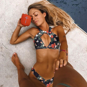 Custom Made Topical Floral Print Two Pieces Bikini Neck Tied Sexy Swimsuit