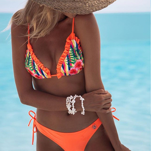 Custom Made Orange Floral Print Two Pieces Bikini Ripple Fringes Sexy Swimsuit