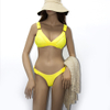Costom Buckle T Shirt Bikini Top Yellow High Waisted Two Piece Swimsuit Sexy 2020