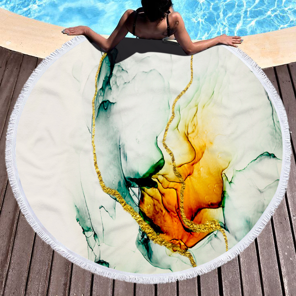 Wohlesale Mixed Color Marble Quick Dry Round Microfiber Beach Towel with Tassels For Summer