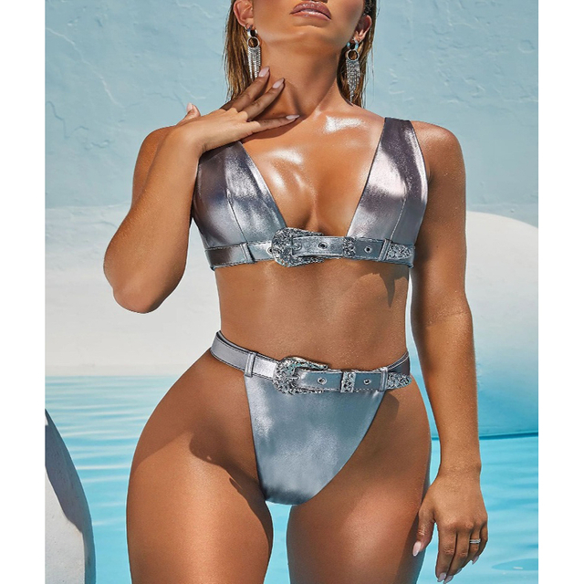 Wholesale Two Pieces Swimsuit Sliver Metalic Sexy Bikini High Waist Bikini