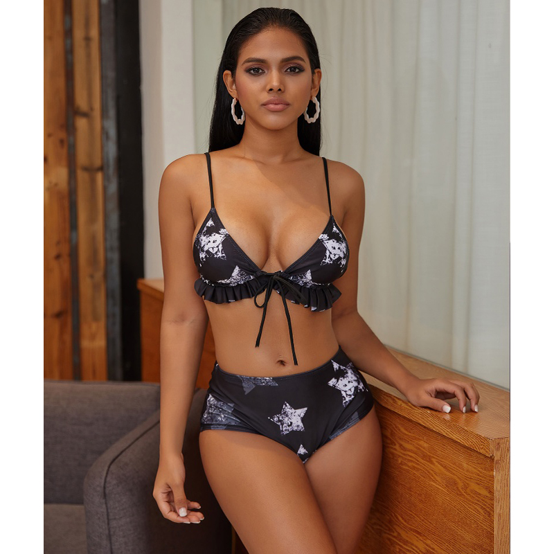 Wholesale Stars Print Two Pieces Bikini Triangle Bikini