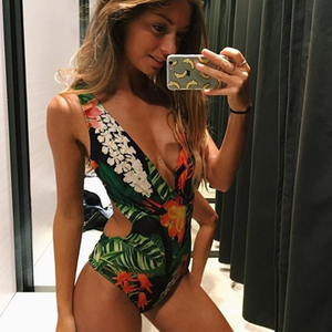 Whosale Olive Green Floral One Piece Swimsuit Bikini