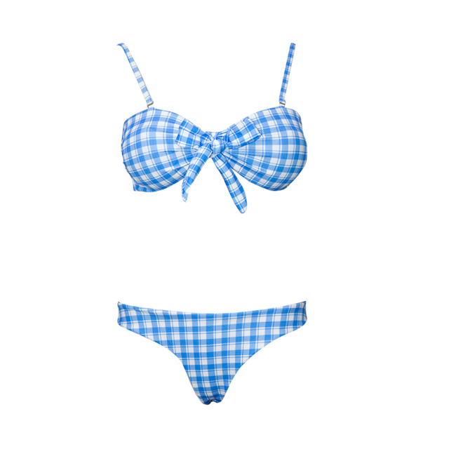 Custom Two Piece Checkered Baby BlueLow Rise Bikinis Girls 2020