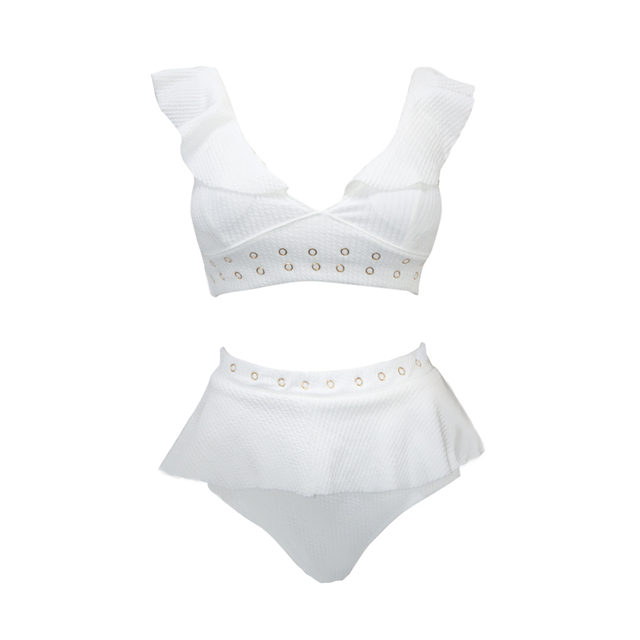Costom White high waisted two piece swimsuit ribbed v-neck bikini 2020