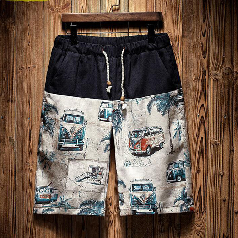 Wholesale Black Bus Printed Men's Trunk 2021 Trend Swimming Shorts