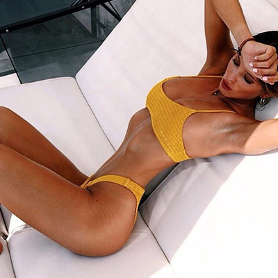 Custom Made Yellow Seersuker Two Pieces Bikini Sexy Swimsuit