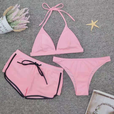 Custom Made Three Pieces Bikini Pink Triangle Bottom Sport Bikini