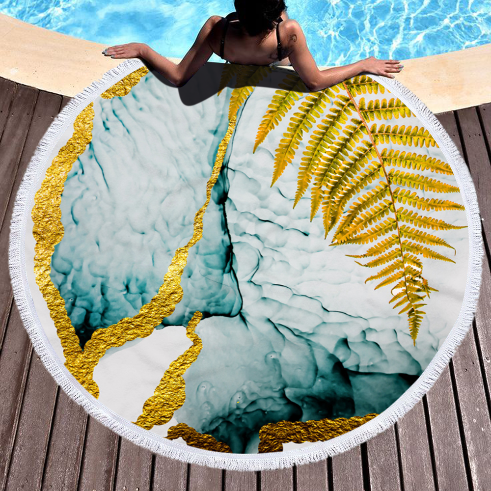 Factory Custom Larger Marble Quick Dry Round Microfiber Beach Towel Cheap For Summer